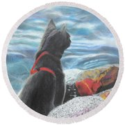 Resting By The Shore Round Beach Towel
