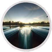 Resting Canoes Round Beach Towel
