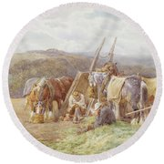 Resting In The Field  Round Beach Towel by Charles James Adams