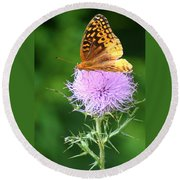 Resting On A Thistle Round Beach Towel