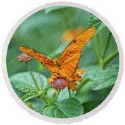 Resting Orange Butterfly Round Beach Towel