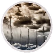 Resting Sailboats Round Beach Towel