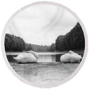 Resting Swans Round Beach Towel