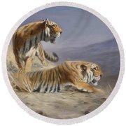 Resting Tigers Round Beach Towel