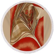 Resting Woman - Portrait In Red Round Beach Towel