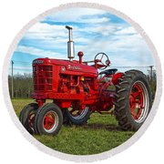 Restored Farmall Tractor Hdr Round Beach Towel