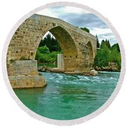 Restored Roman Bridge Over Eurynedan River-turkey Round Beach Towel