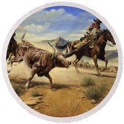 Restraint 2 Cowboys Roping A Steer Round Beach Towel