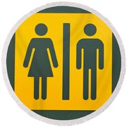 Restroom Sign Symbol For Men And Women Round Beach Towel