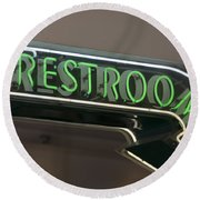 Restrooms In Neon Round Beach Towel