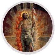 Resurrection Round Beach Towel by Andrea Mantegna