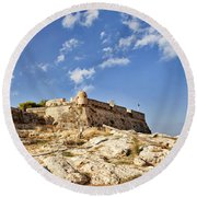 Rethymno Fortification Round Beach Towel