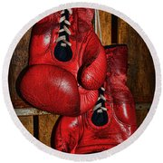 Retired Boxing Gloves Round Beach Towel by Paul Ward