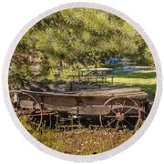Retired Wagon At Thousand Trails Round Beach Towel