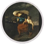 Retreat From The Storm Round Beach Towel