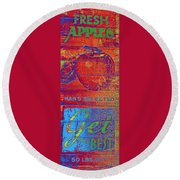 Retro Apples Round Beach Towel