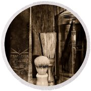 Retro Barber Tools In Black And White Round Beach Towel