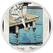 Retro Bathing Apparel Sign Round Beach Towel