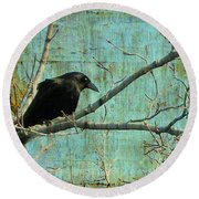 Retro Blue - Crow Round Beach Towel