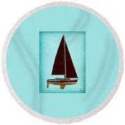 Retro Blue Sailing Round Beach Towel