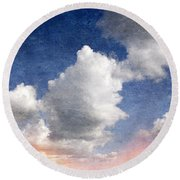 Retro Clouds 2 Round Beach Towel