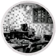 Retro Diner Bw Round Beach Towel