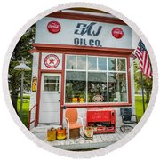Retro Gas Station Round Beach Towel