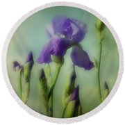 Retro Iris Metting Round Beach Towel