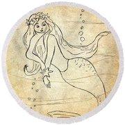 Retro Mermaid Round Beach Towel