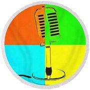 Retro Microphone Pop Art 2 Round Beach Towel