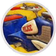 Retro Police Tricycle Round Beach Towel