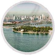 Retro Style Miami Skyline And Biscayne Bay Round Beach Towel