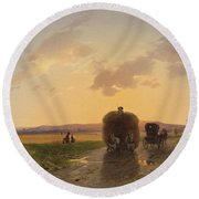 Return From The Field In The Evening Glow Round Beach Towel