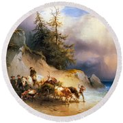 Return From The Mountain Pasture Round Beach Towel