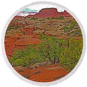 Return Trail To Elephant Hill In Needles District Of Canyonlands National Park-utah Round Beach Towel