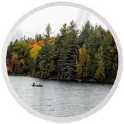 Returning From A Canoe Trip Round Beach Towel