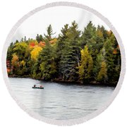 Returning From A Canoe Trip - V2 Round Beach Towel