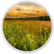 Retzer Wildflower Sunset Round Beach Towel
