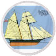 Revenue Cutter Alexander Hamilton Round Beach Towel