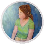 Reverie Of A Young Woman Round Beach Towel