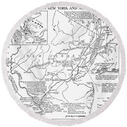 Revolutionary War Map, 1776 Round Beach Towel
