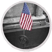 Revolutionary War Veteran Marker Round Beach Towel by Teresa Mucha