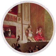Revue At The Theatre Des Varietes, C.1885 Oil On Canvas Round Beach Towel