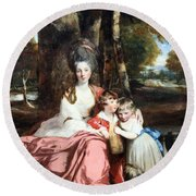 Reynolds' Lady Elizabeth Delme And Her Children Round Beach Towel