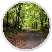 Wooded Path 12 Round Beach Towel