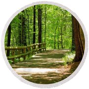 Wooded Path 15 Round Beach Towel