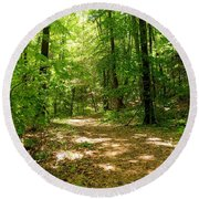 Wooded Path 16 Round Beach Towel