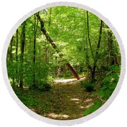Wooded Path 17 Round Beach Towel