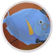 Rhapsody In Blue Round Beach Towel