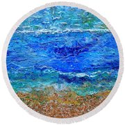 Rhapsody On The Sea Square Crop Round Beach Towel